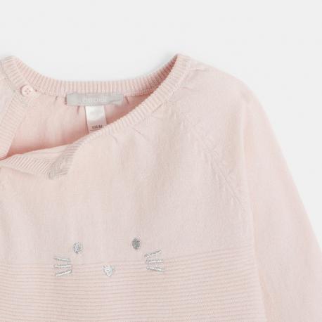Okaidi Dors-bien tricot cotele brode chat