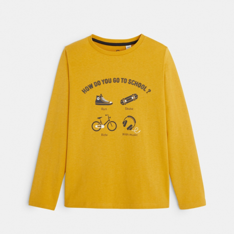 "Okaidi T-shirt a message ""how do you go to school"""