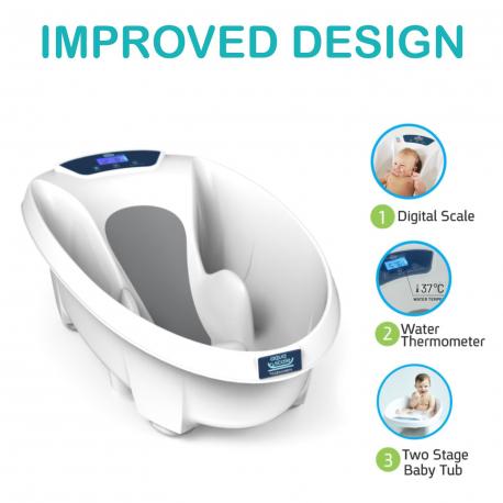 Μπάνιο με ψηφιακή ζυγαριά και θερμόμετρο 3 σε 1 Babypatent AquaScale
