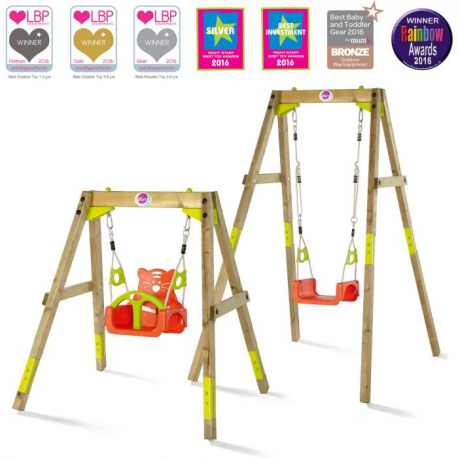 Προσαρμοζόμενη κούνια εξωτερικού χώρου Plum® Wooden Growing Swing Set