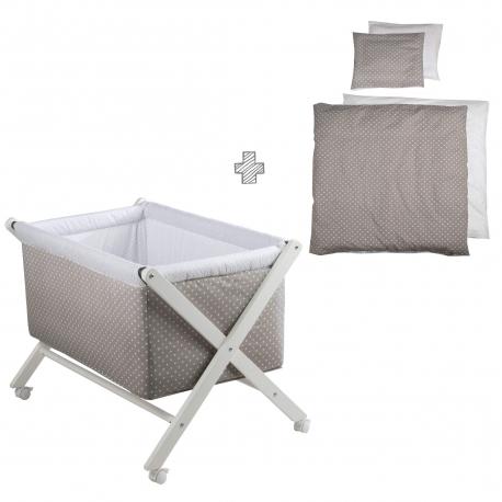 Σετ πτυσσόμενο λίκνο χιαστή Roba® Dots με στρώμα, πάπλωμα και μαξιλάρι