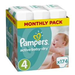 Πάνες monthly pack Pampers® Active Baby-Dry No 4 (8-14 kg) 174 τεμάχια
