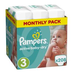 Πάνες monthly pack Pampers® Active Baby-Dry No 3 (5-9 kg) 208 τεμάχια