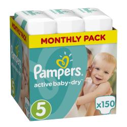 Πάνες monthly pack Pampers® Active Baby-Dry No 4+ (9-16 kg) 150 τεμάχια