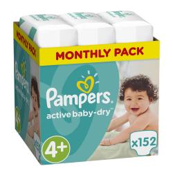 Πάνες monthly pack Pampers® Active Baby-Dry No 4+ (9-16 kg) 152 τεμάχια