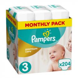 Πάνες monthly pack Pampers® Premium Care No 3 (5-9 kg) 204 τεμάχια