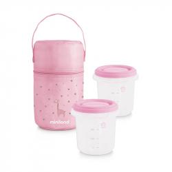 Miniland ισοθερμική θήκη και 2 δοχεία φαγητού Pack-2-Go Hermisized 250 ml