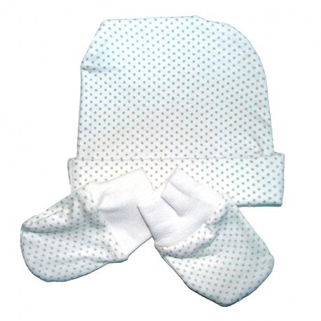 Σετ σκουφάκι και γαντάκια για νεογέννητο Nona Bebe