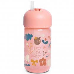 Suavinex παγούρι με καλαμάκι 340 ml Into the Forest Pink 18M+