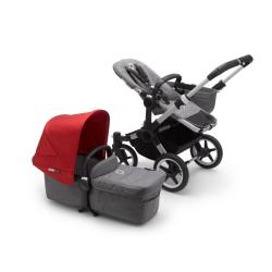 Καρότσι και port-bebe Bugaboo Donkey3 Mono Complete Aluminum - Grey Melange/Red