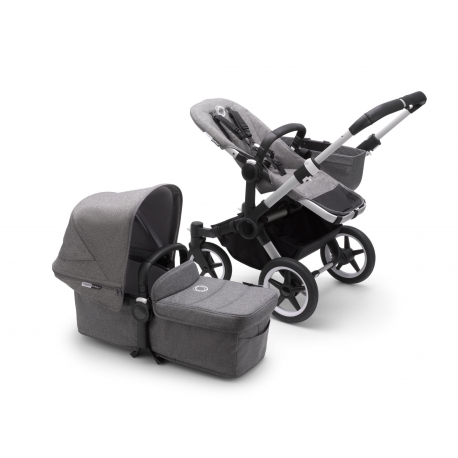 Καρότσι και port-bebe Bugaboo Donkey3 Mono Complete Aluminum - Grey Melange