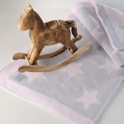 Κουβέρτα DOWN TOWN BABY Star Grey - Pink 90 x 120 cm