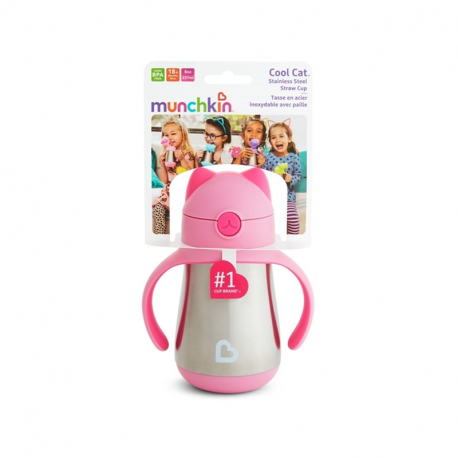 Munchkin ισοθερμικό παγούρι με καλαμάκι Cool Cat™ Pink
