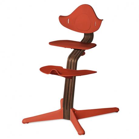 Καρέκλα φαγητού Nomi Burnt Orange με ξύλινη βάση Stem Premium Natural Oak