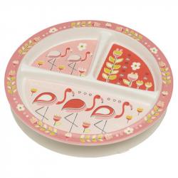 Sugarbooger® αντιολισθητικό πιάτο μελαμίνης Flamingo με διαχωριστικά