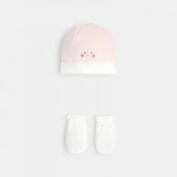 Okaidi Lot naissance bonnet et moufles